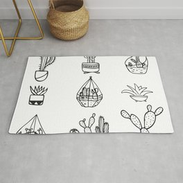 Minimalist Cacti Collection Black and White Rug