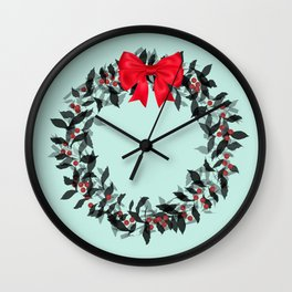 Christmas Wreath with Red Bow #Christmas #holidays Wall Clock