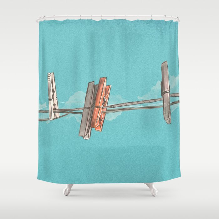 Boho Clothespin Shower Curtain