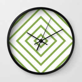 Nested Green Squares Wall Clock
