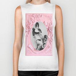 Femme Fatale - Pin Up - Pastel Pink Frame - Roses  Biker Tank