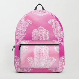 Modern white floral lace hamsa hand of fatima illustration on pink watercolor Backpack