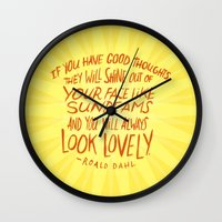 roald dahl Wall Clocks featuring Roald Dahl on Positive Thinking by Josh LaFayette