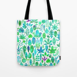 Modern green aqua blue watercolor greenery leaves Tote Bag