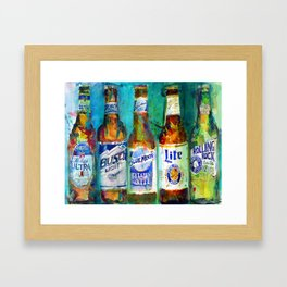 Miller LIte, Busch light, Blue Moon Lite Framed Art Print