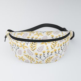 Yellow Floral on White Fanny Pack