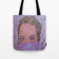 sister Tote Bags featuring sister by Elide G