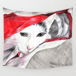 chat sort du sac- cat in a bag  Wall Tapestry
