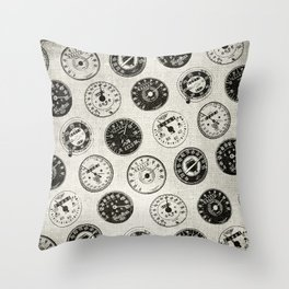 Vintage Motorcycle Speedometers Throw Pillow