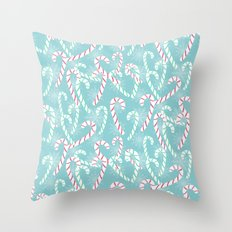 Frosty Canes Throw Pillow