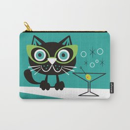 1950s Swank Mid Century Modern Martini Cocktail Kitty Cat Carry-All Pouch
