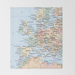World Map Europe Throw Blanket