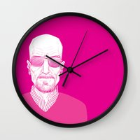 walter white Wall Clocks featuring Walter White by Ron Chan