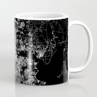 houston Mugs featuring Houston map by Line Line Lines