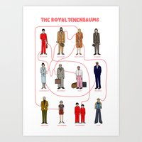 the royal tenenbaums Art Prints featuring The Royal Tenenbaums by Shanti Draws