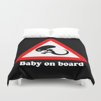 ripley Duvet Covers featuring Baby on board by dutyfreak