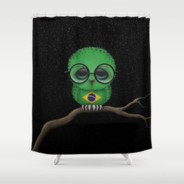 Baby Owl with Glasses and Brazilian Flag Shower Curtain