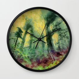 abstract misty forest painting hvhdstd Wall Clock