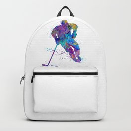 Boy Ice Hockey Colorful Sports Art Watercolor Gift Backpack