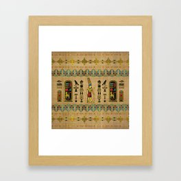 Egyptian Amun Ra - Amun Re Ornament on papyrus Framed Art Print