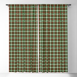 Christmas Holly Green and Red Tartan Check with Wide White Lines Blackout Curtain