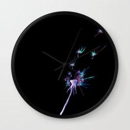 Inverted Watercolor Dandelions Wall Clock