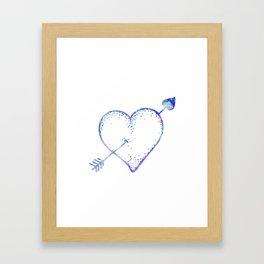 Blue Watercolor Crystal Heart Framed Art Print