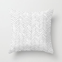Abstract Herringbone, Striped Pattern, Gray and White Throw Pillow