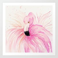 flamingo Art Prints featuring FLAMINGO by Monika Strigel