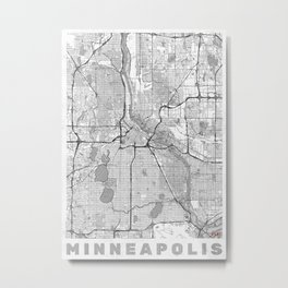 Minneapolis Map Line Metal Print