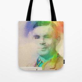 Alan Turing: Rainbow Portrait Tote Bag