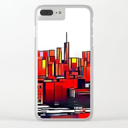 Mondrian Mosaic of Manhattan in Orange and Yellow Clear iPhone Case