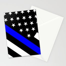 Police Flag: The Thin Blue Line Stationery Cards