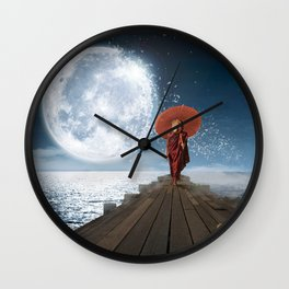 Lion Under the Moon Wall Clock
