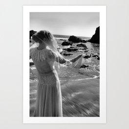 Woman In White Art Print