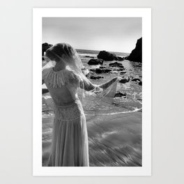 Woman In White Art Print