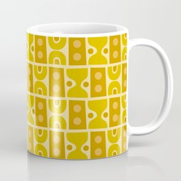 Mid Century Abstract Pattern Yellow Ochre Coffee Mug