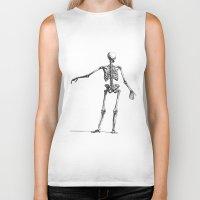 skeleton Biker Tanks featuring Skeleton by jane.y