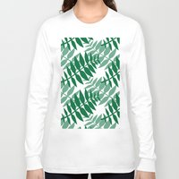 green pattern Long Sleeve T-shirts featuring Green by JuniqueStudio