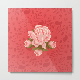 Floral Romantic Pattern Metal Print