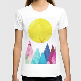 On the Mountain, Whimsical Ink Landscape T-shirt