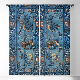 Aincent Chinese Old Century Authentic Colorful Deep Royal Blue Vintage Patterns Blackout Curtain