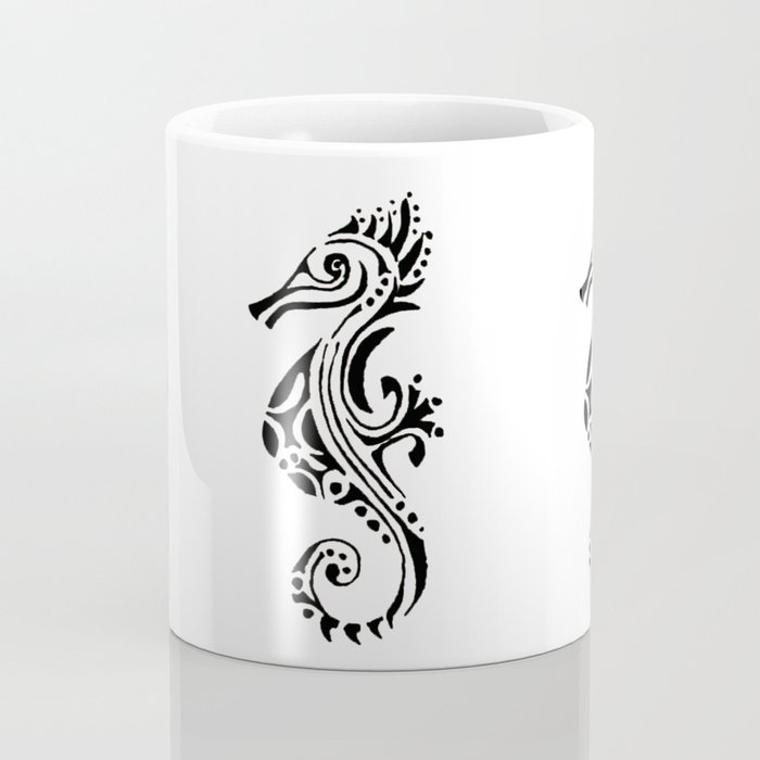 seahorse tatoo white Coffee Mug