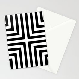 Simple Geometric Cross Pattern - White on Black - Mix & Match with Simplicity of life Stationery Cards