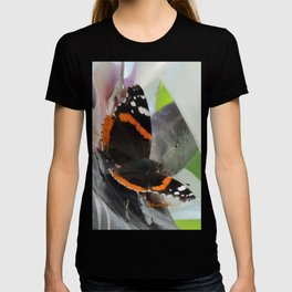 Red Admiral on a White Bird of Paradise Bloom T-shirt