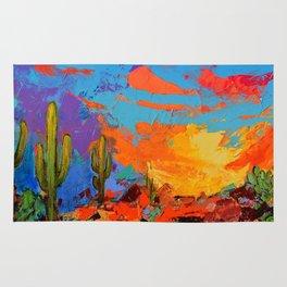 Saguaros Land Sunset Rug