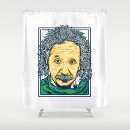 Illustration of the biggest physicist genius Albert Einstein. Shower Curtain
