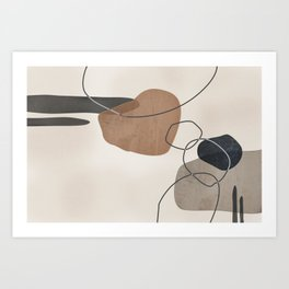 Linkedin Abstract in Taupe, Cinnamon and Charcoal Grey Art Print