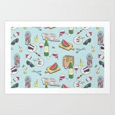 messy picnic Art Print