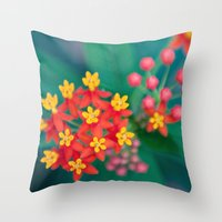 fireworks Throw Pillows featuring fireworks by shannonblue